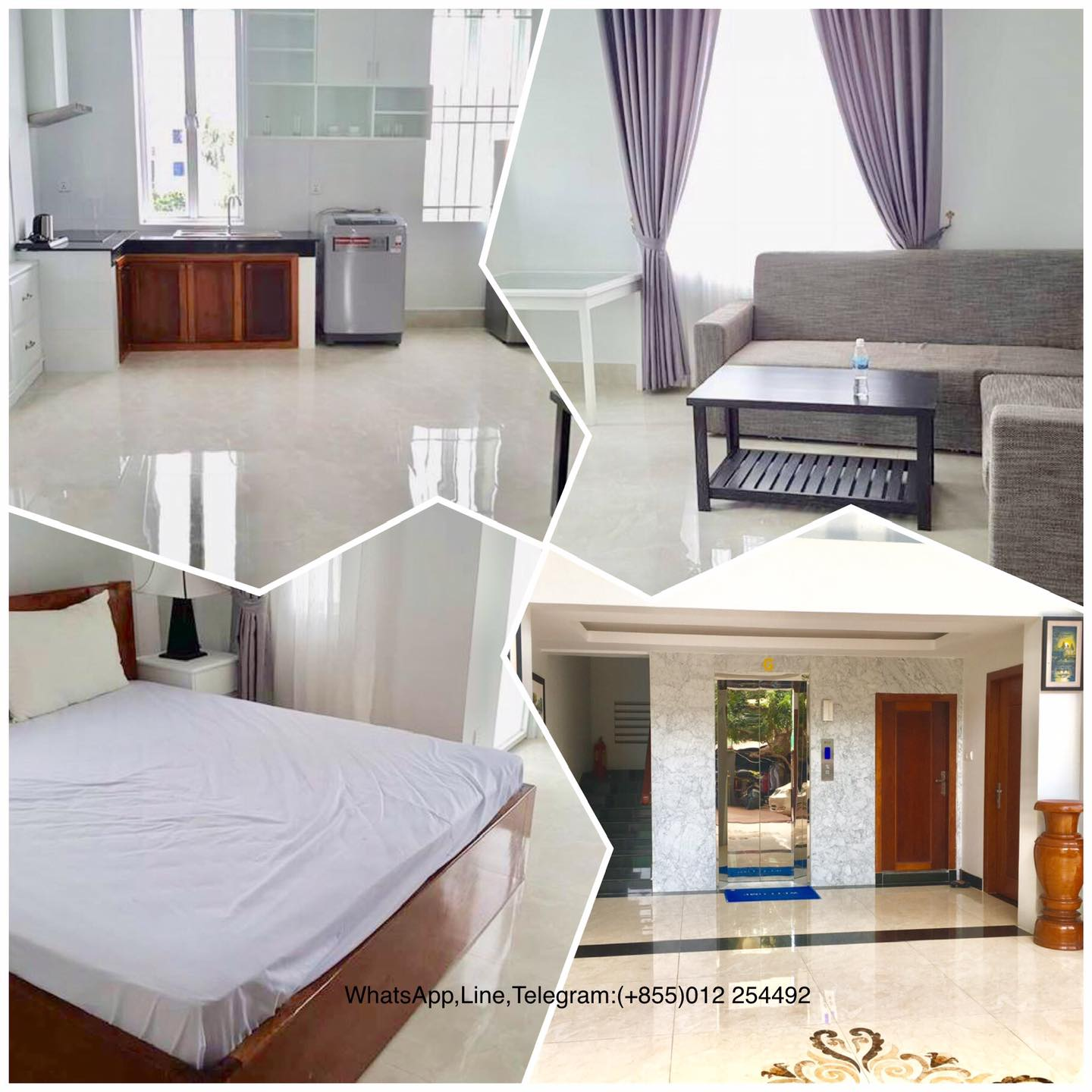 1 Bed 1 Bath Modern Western Elevator Apartment for Rent in Phnom Penh,Russian Market